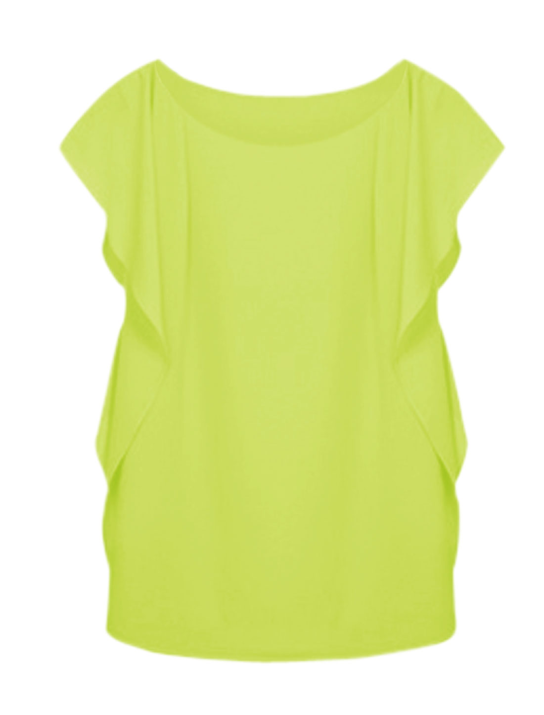 Woman Flounce Sleeves Round Neck Casual Top Lime M