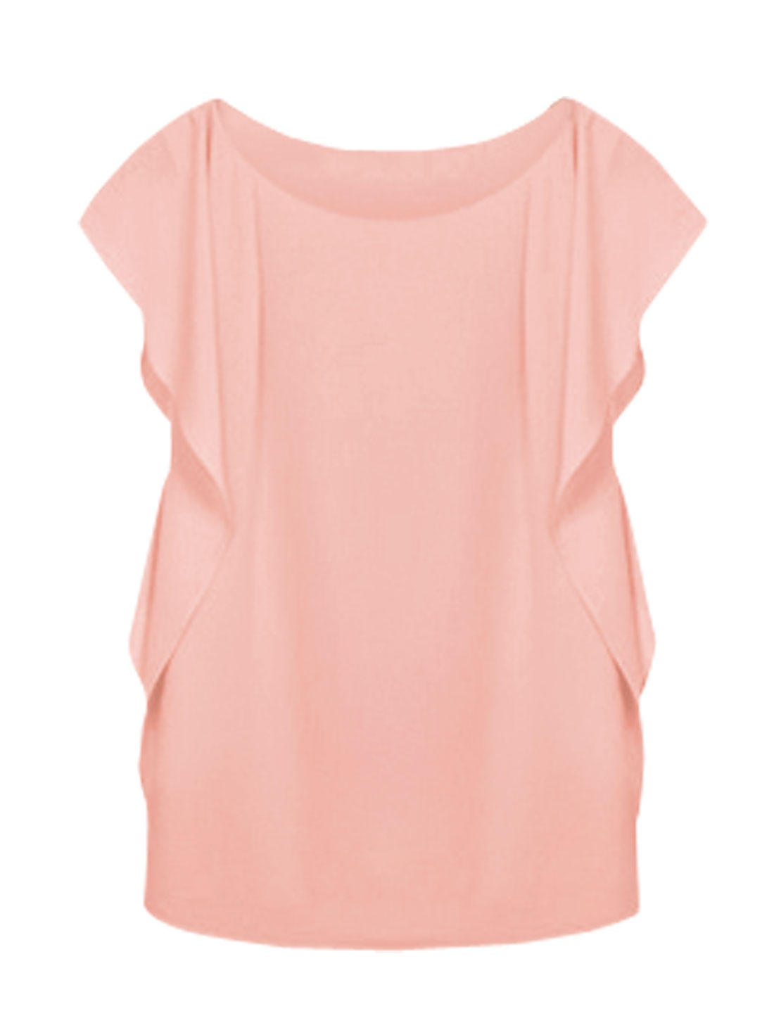 Lady Flounce Sleeves Round Neck Slipover Casual Blouse Pink M