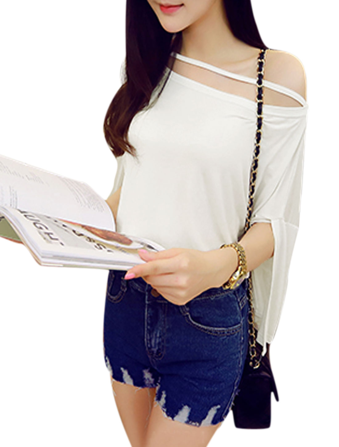 Woman Off-the-Shoulder Cut Out Strap Front 3/4 Sleeves Casual Tee White S