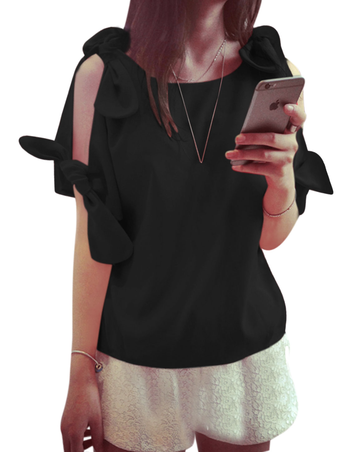 Ladies Cut Out Shoulder Short Sleeves Bow Shirts Black S