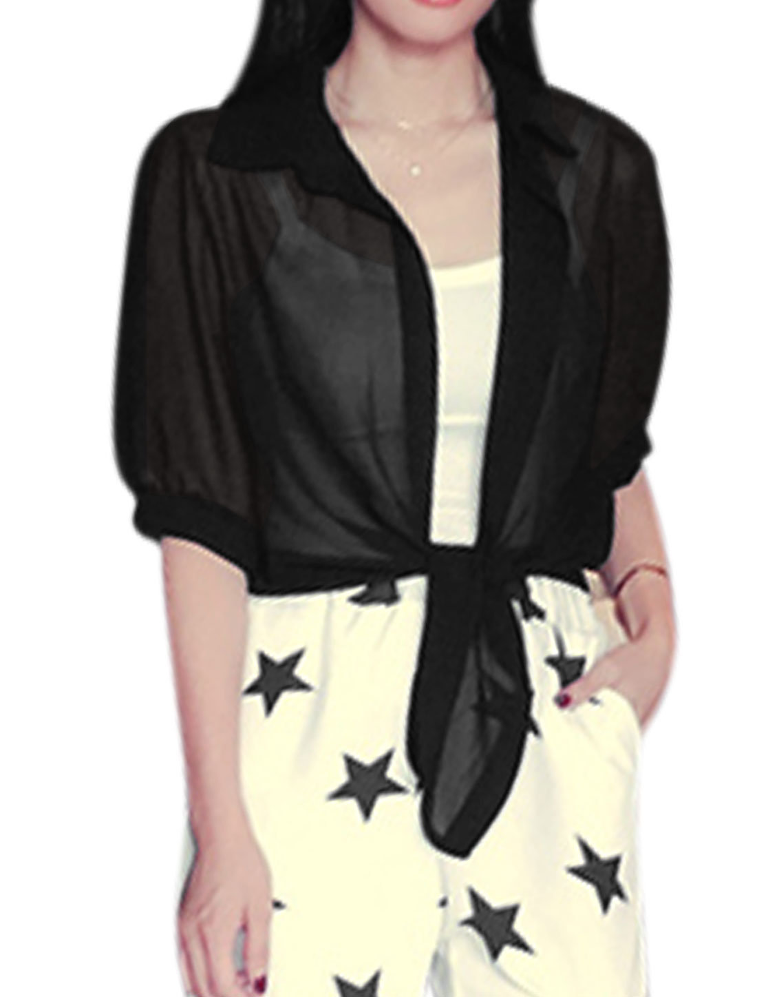 Ladies Elbow Sleeves Buttonless Self Tie Waist Chiffon Cardigan Black XS