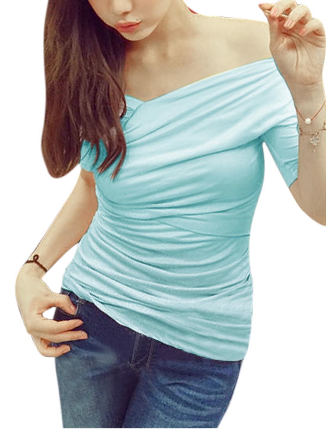 Women Off Shoulder Short Sleeves Shirred Sides Casual Tops Sky Blue S