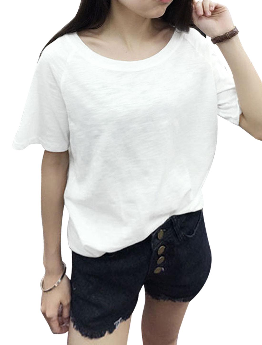 Woman Short Raglan Sleeves Round Neck Side-Slit Burnout Tee Shirt White XS