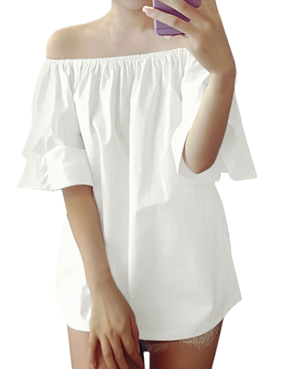 Woman Off-the-Shoulder Flounce Sleeves Elastic Upper Tunic Top White XS