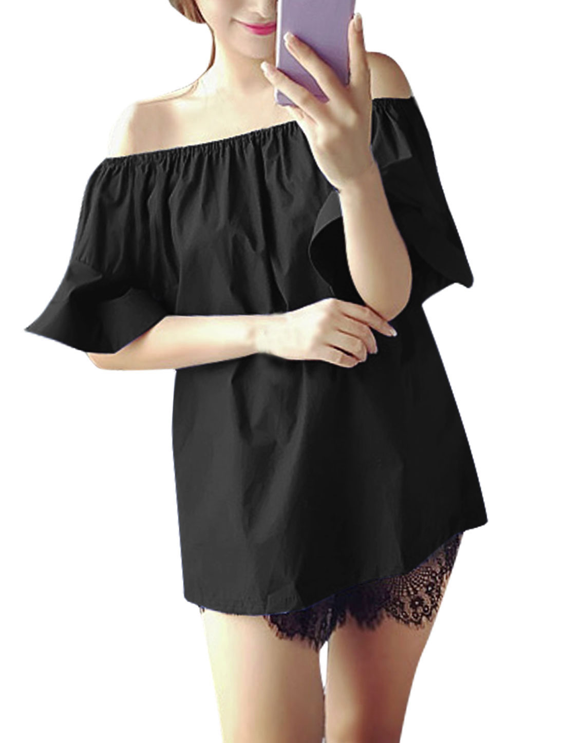 Woman Off-the-Shoulder Flounce Sleeves Tunic Top Black XS