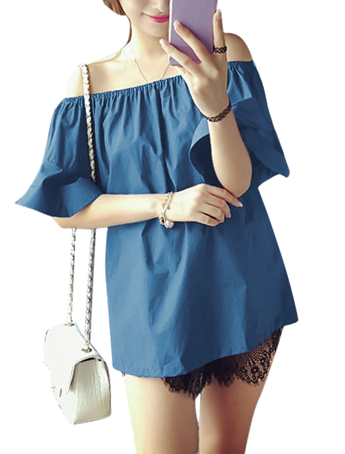 Woman Off Shoulder Flounce Sleeves Elastic Upper Tunic Blouse Blue XS