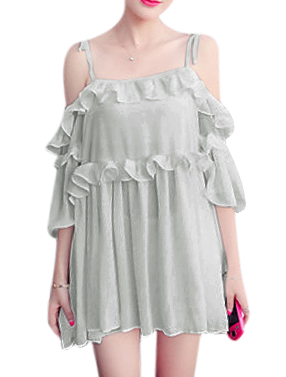 Lady Self Tie Straps 3/4 Sleeves Chiffon Mini Dresses Gray XS