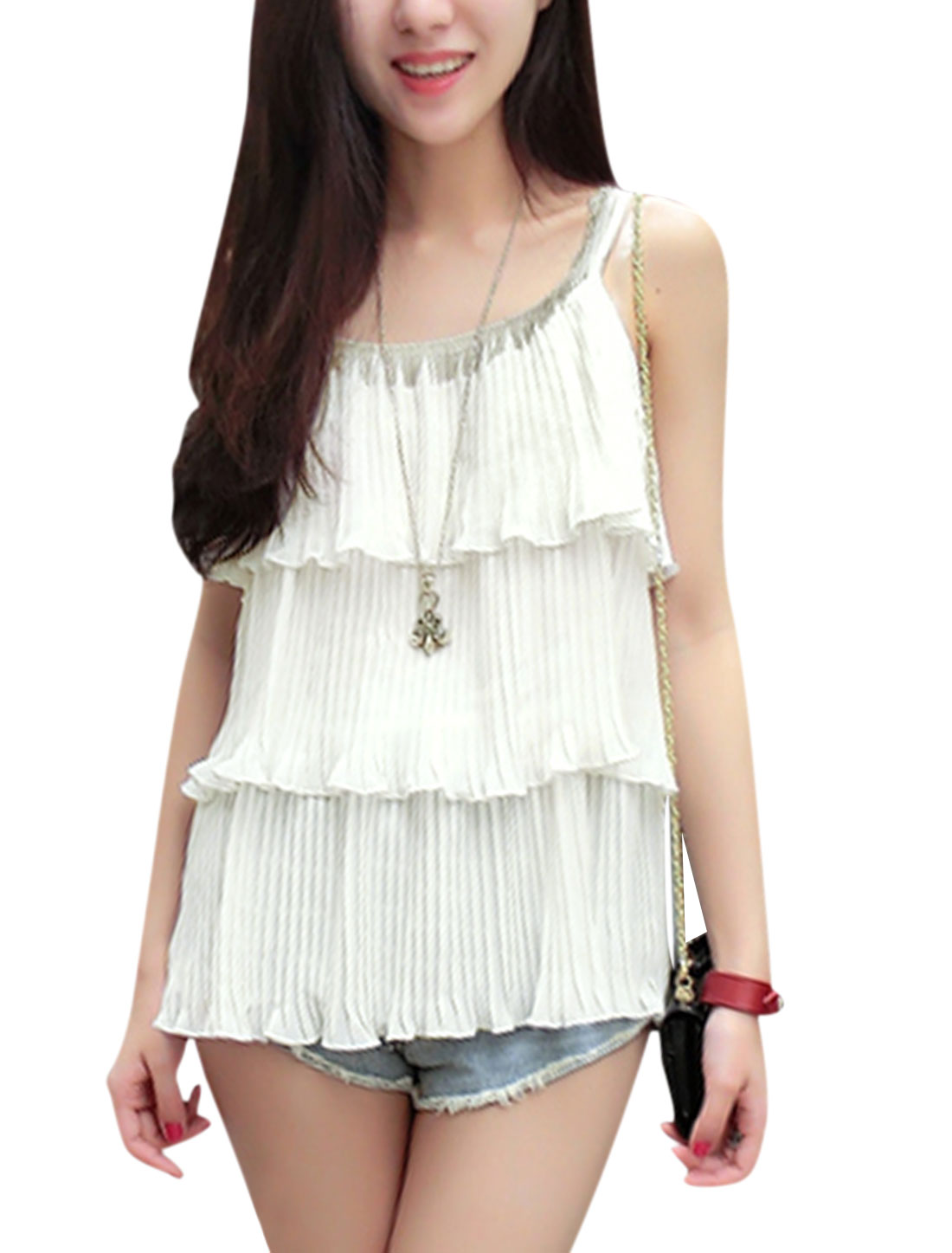 Women Sleeveless Tiered Beads Decor Pleated Chiffon Tops White XS