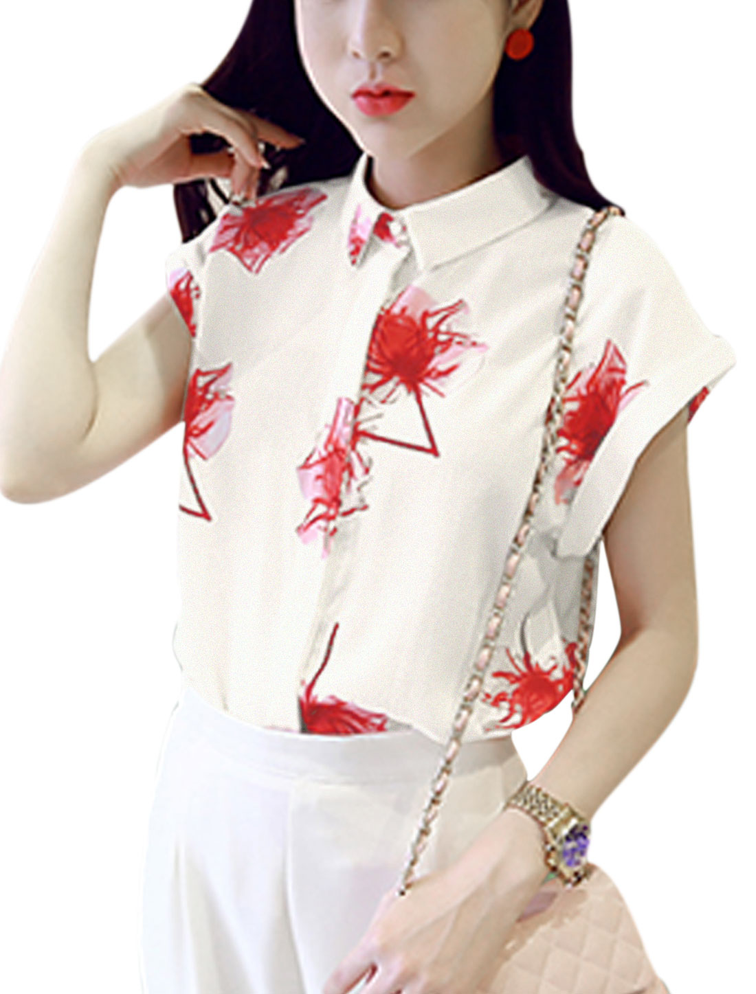 Women Point Collar Flower Prints Dolman Sleeves Casual Shirts Red White XS