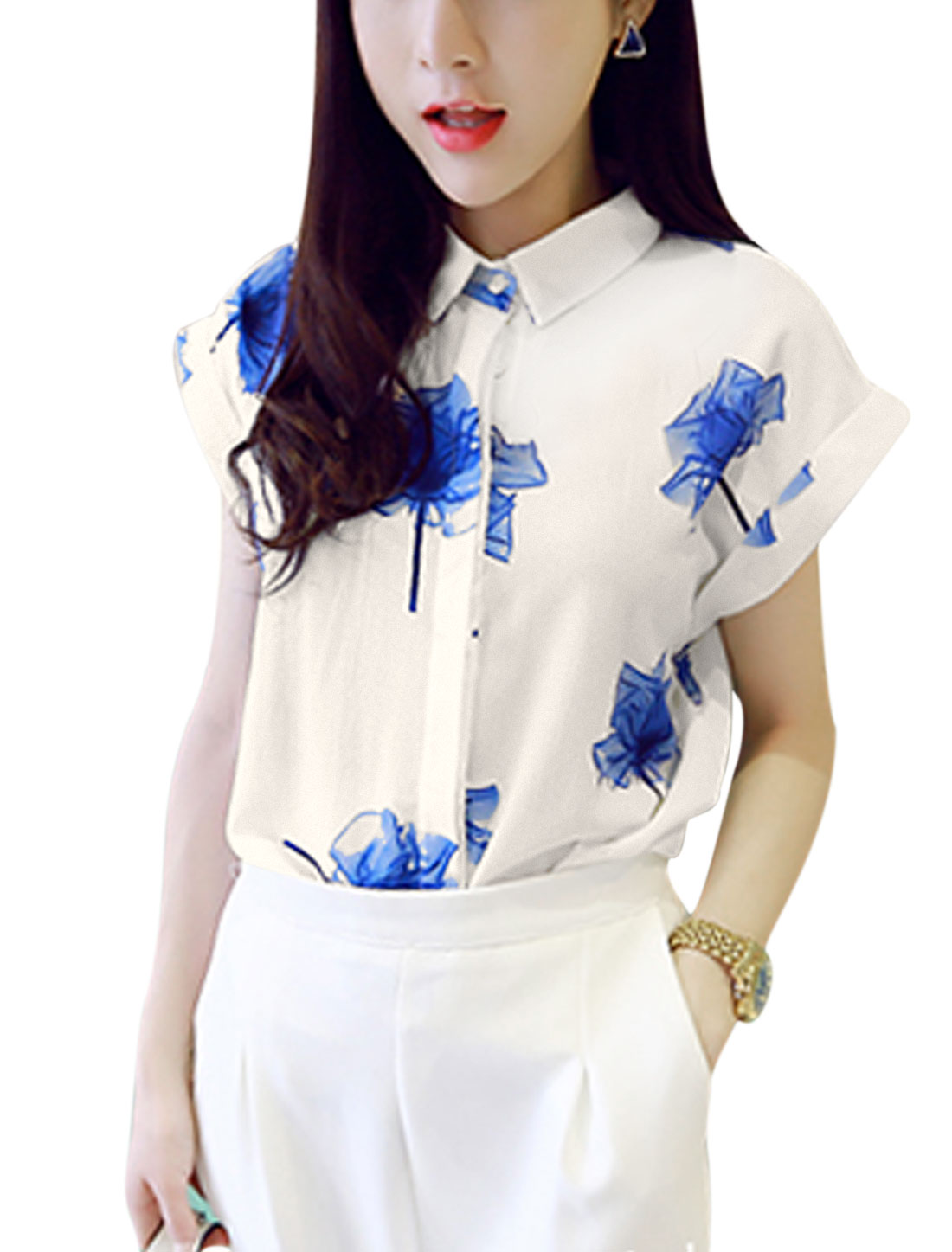 Ladies Short Sleeves Button Down Floral Shirts Blue White XS