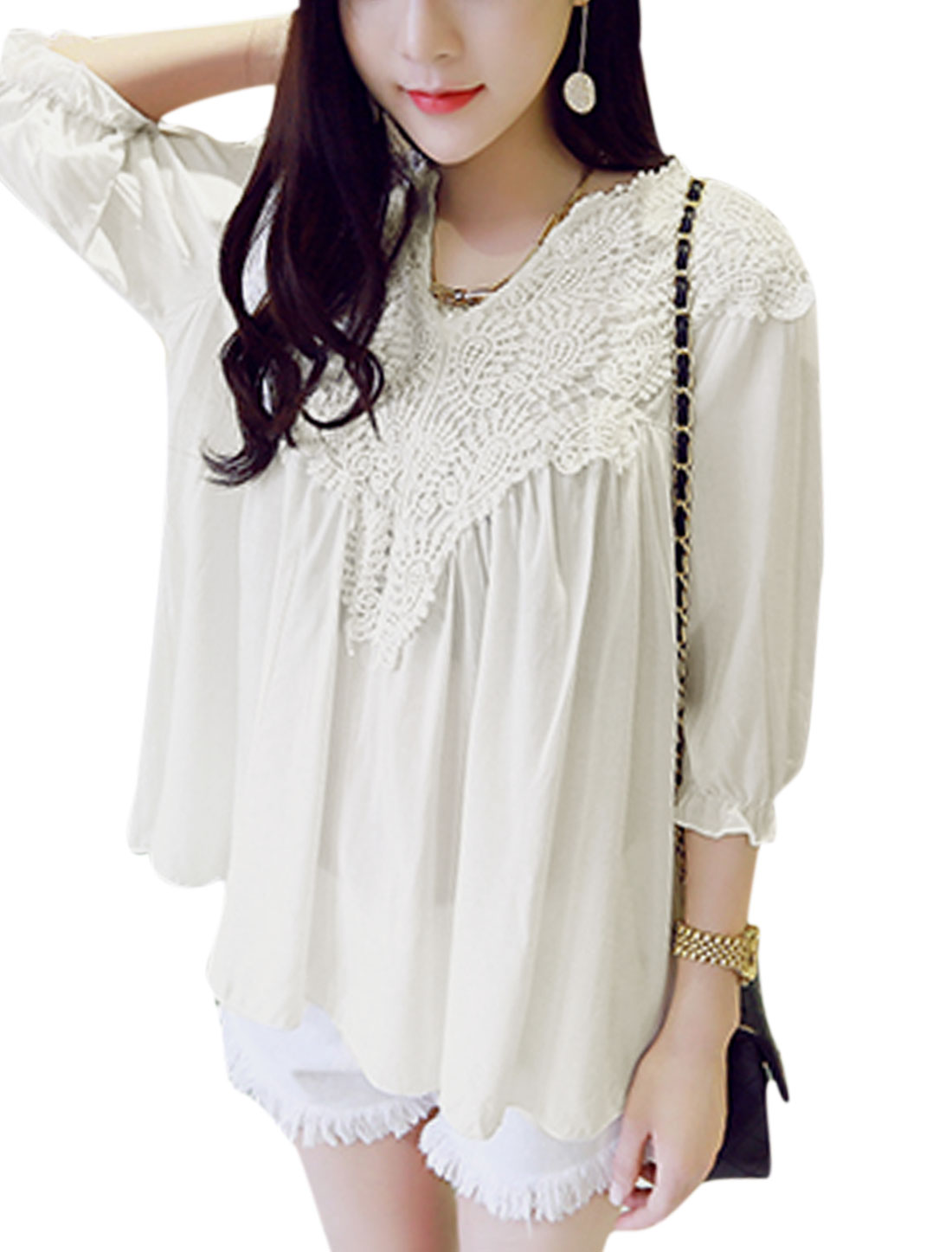 Woman Crochet Design Split Neck 3/4 Sleeves Elastic Cuffs Tunic Top White XS