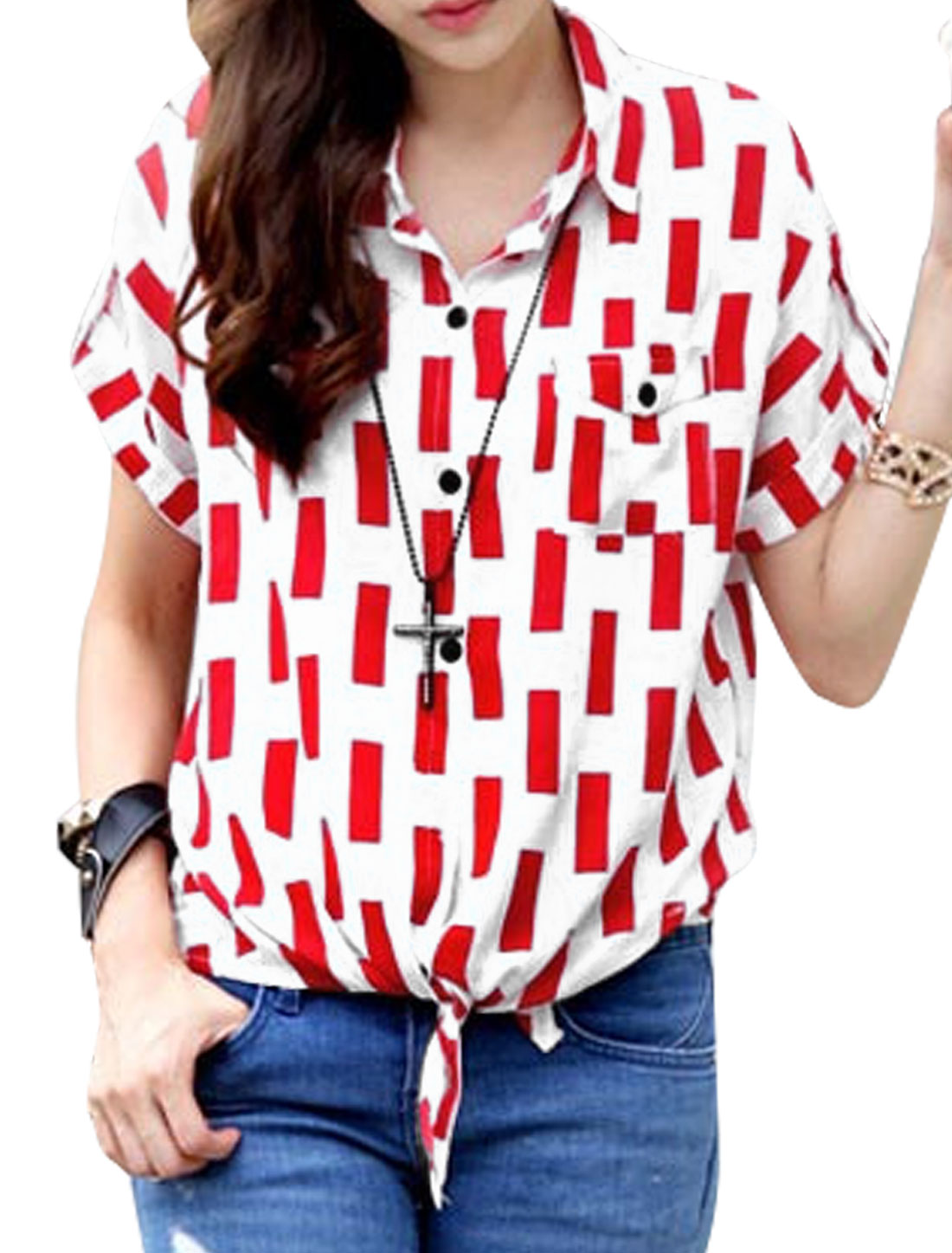 Woman Geometrical Prints Self Tie Front Short Sleeves Shirt Red White M