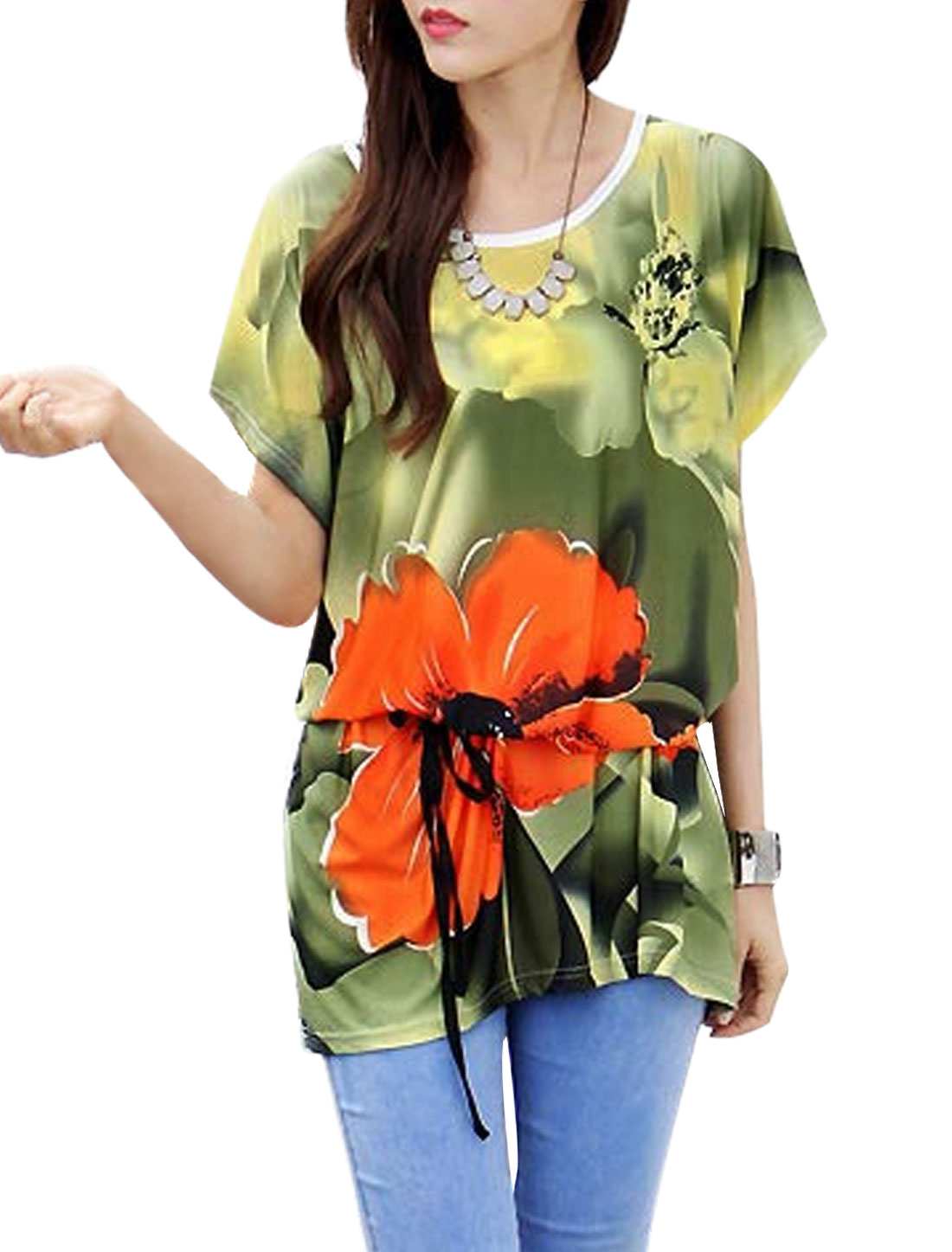 Lady Floral Prints Dolman Sleeves Tunic Shirts w Waist Belt Army Green Orange S