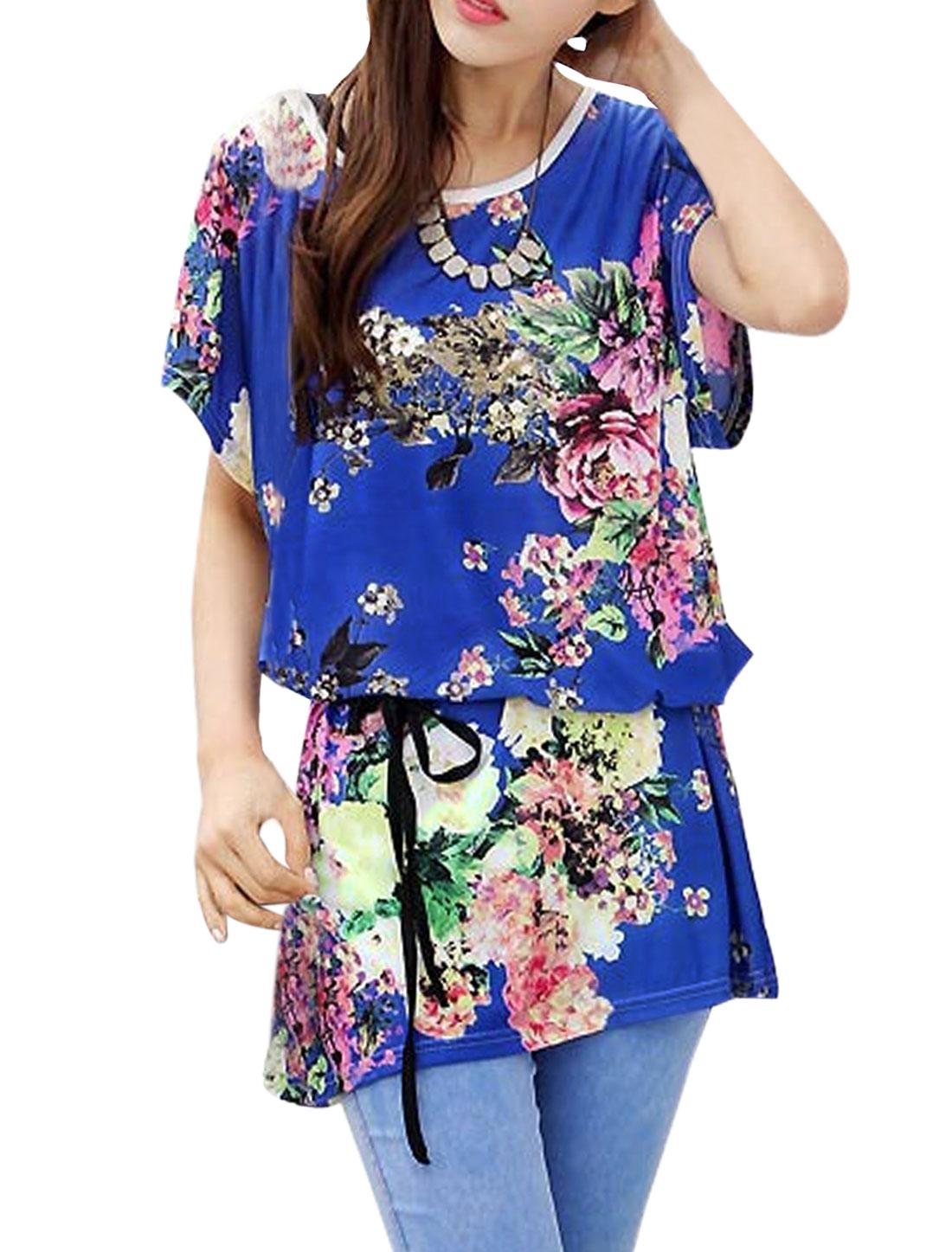 Ladies Short Sleeves Tunic Floral Tops w Waist Belt Blue M