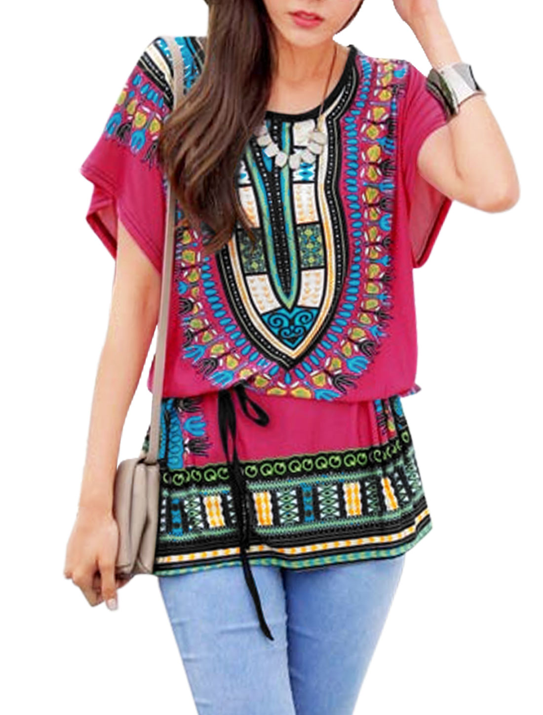 Ladies Novelty Prints Short Sleeves Tunic Tops Fuchsia M