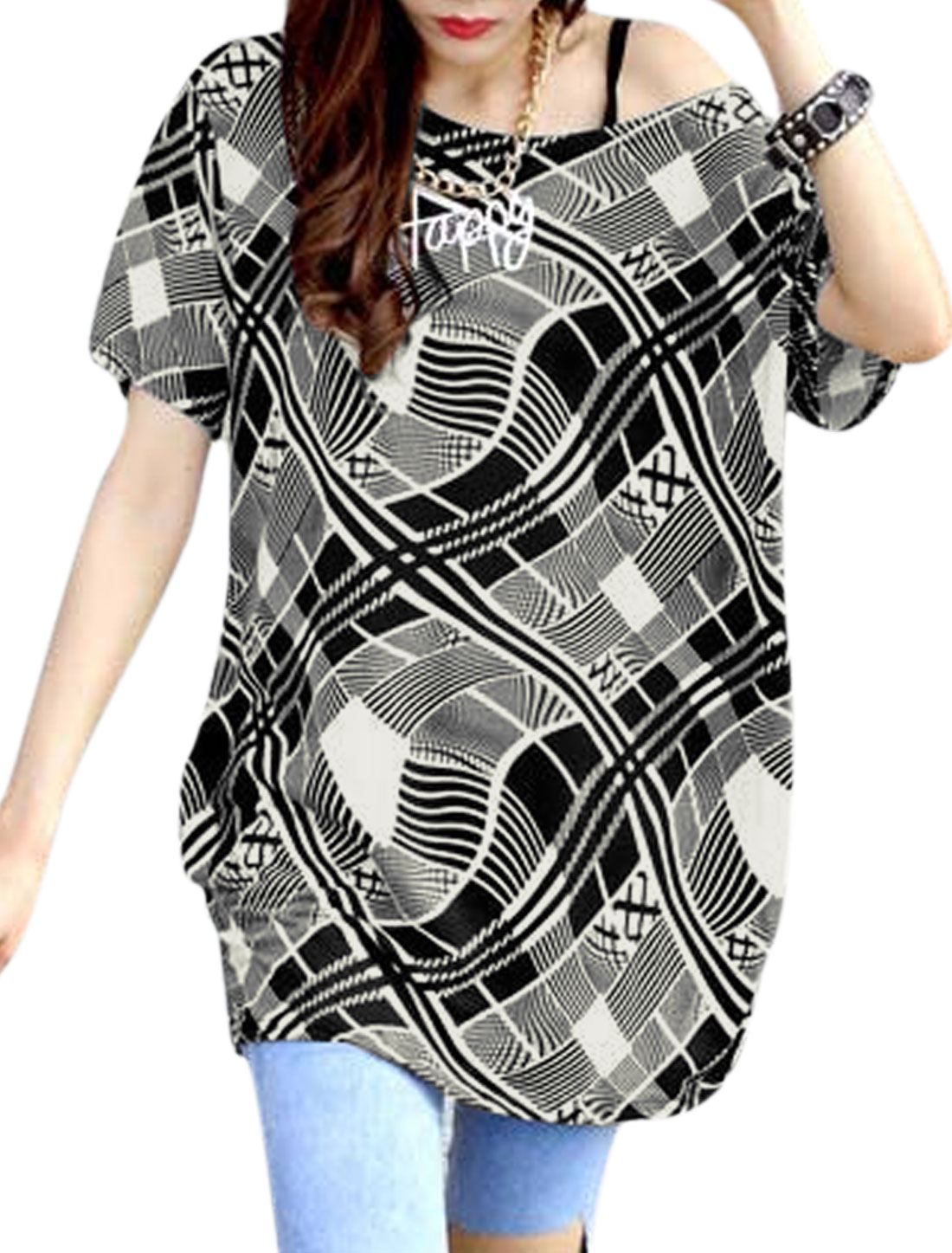 Woman Geometric Prints Ruched Sides Short Sleeves Tunic Top Black White S