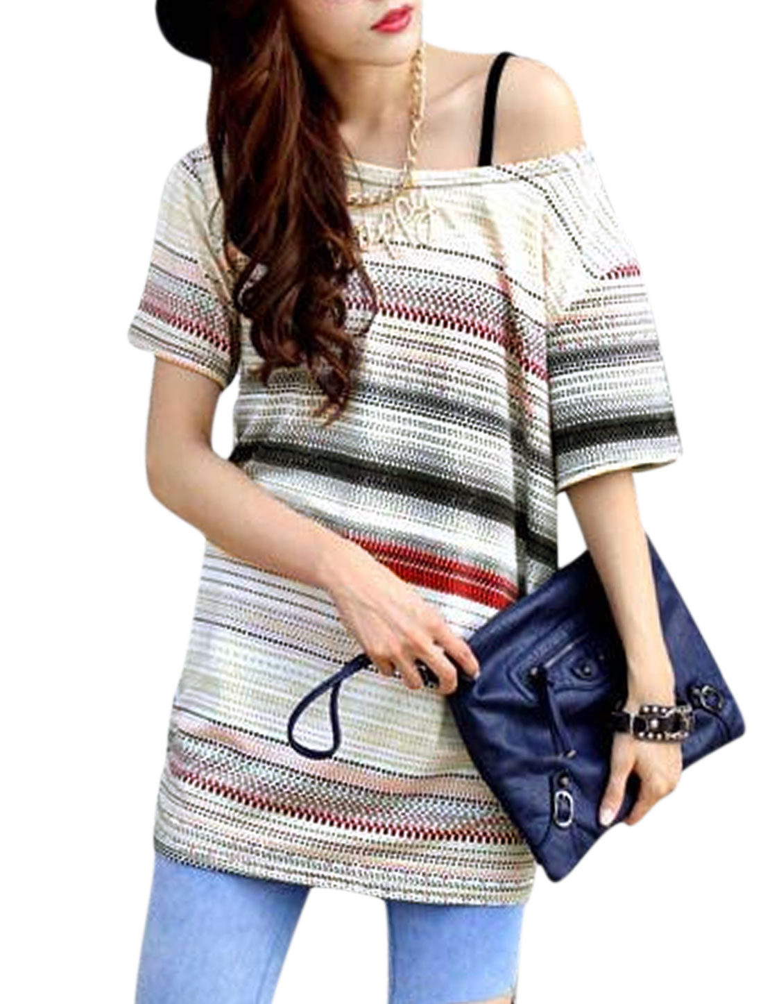 Woman Rectangle Pattern Short Sleeves Leisure Slipover Tunic Top White S
