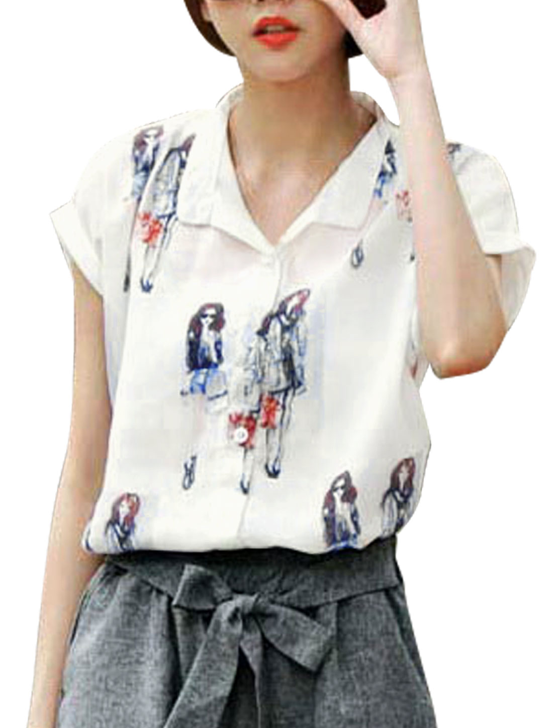 Woman Human Pattern Turn Down Collar Rolled Cuffs Casual Shirt White XS