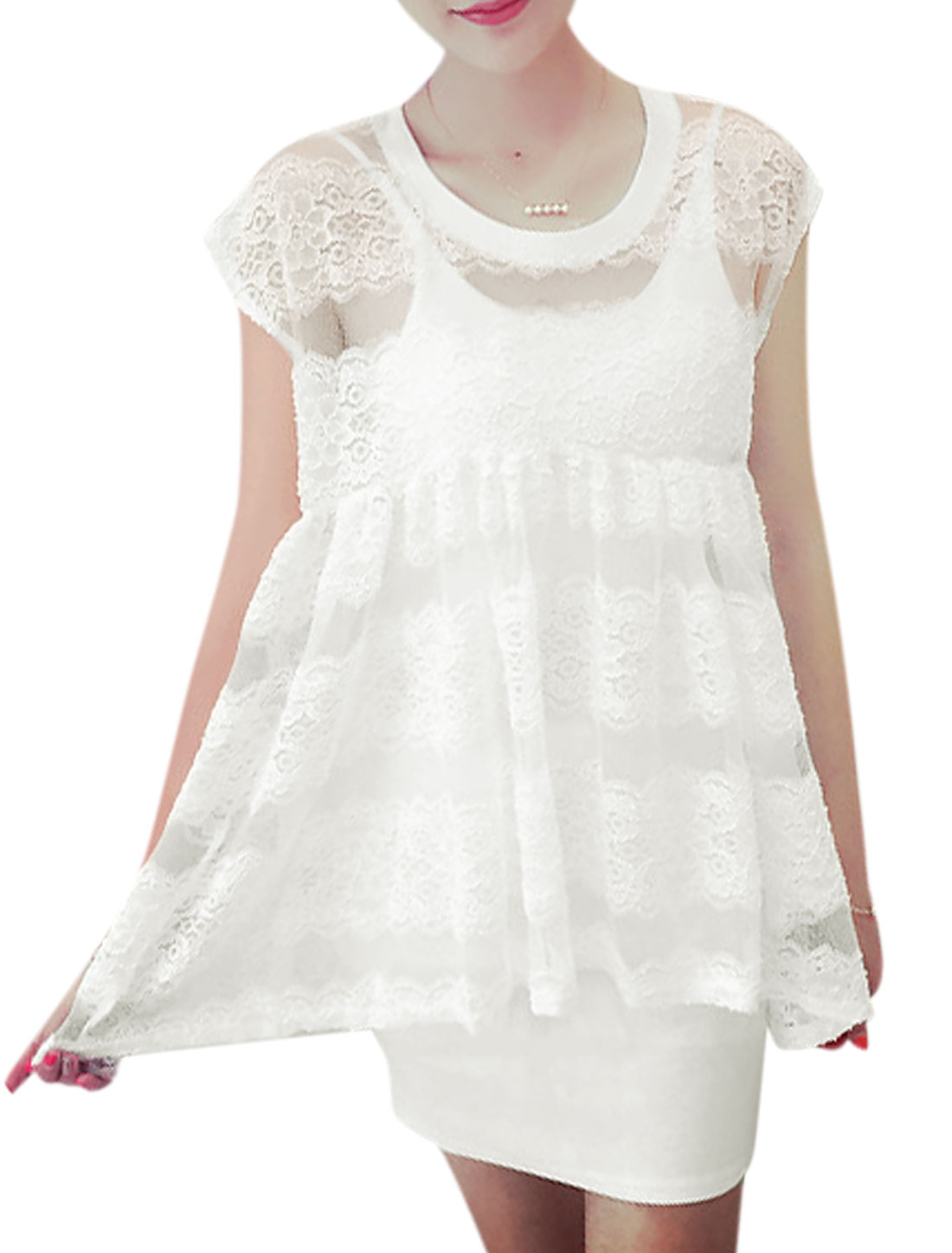 Women Lace Panel Semi Sheer Mesh Shirts w Slim Fit Tank Dress Sets White XS