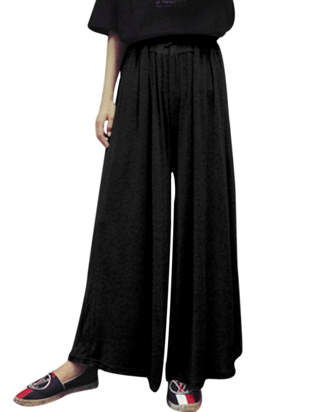 Woman Elastic Drawstring Waist Loose Fit Casual Palazzo Pants Black S