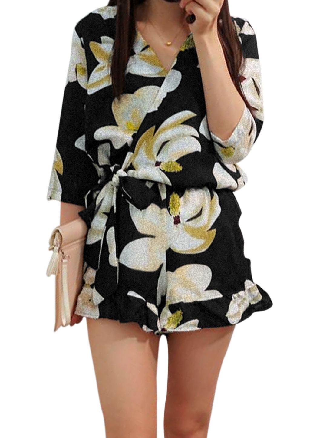Women Crossover V Neck Floral Prints Casual Romper Beige Black S