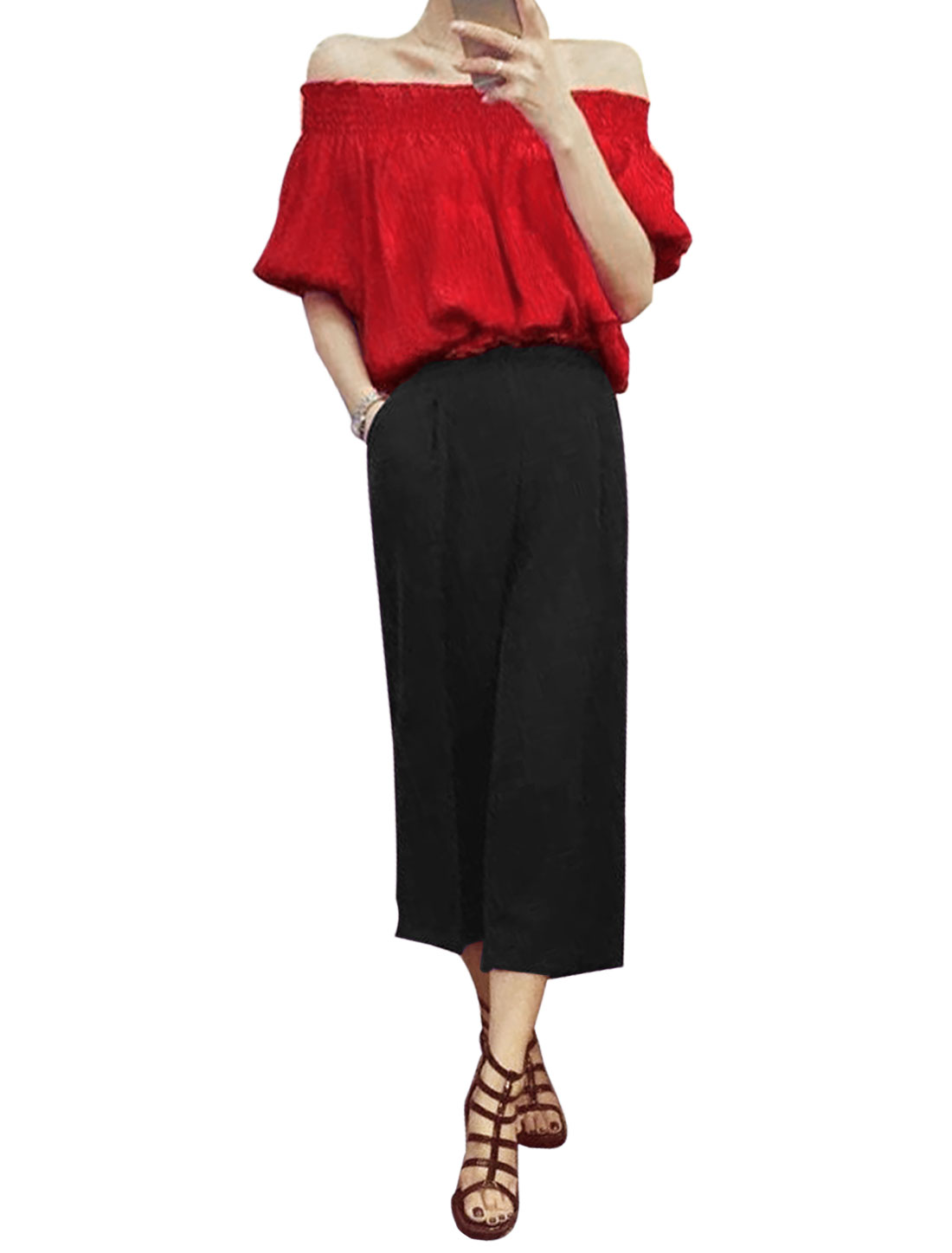 Woman Off-the-Shoulder Top w Slant Pockets Wide Leg Pants Sets Black Red XS
