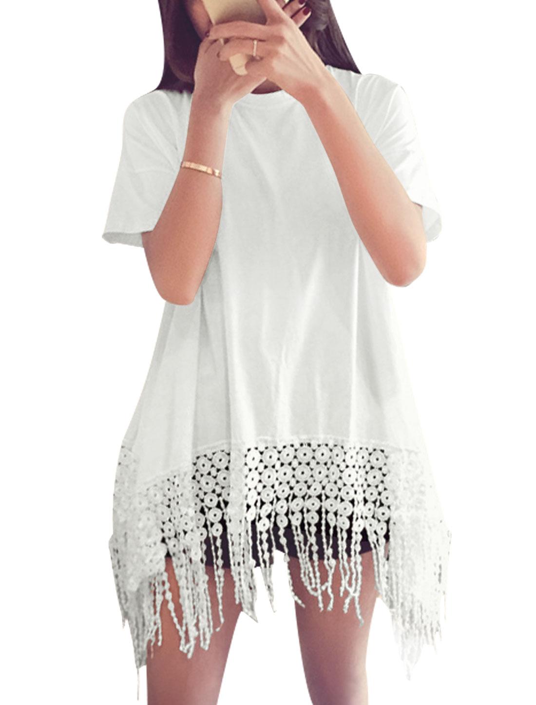 Women Short Sleeves Panel Design Fringing Hem Casual Tops White XS