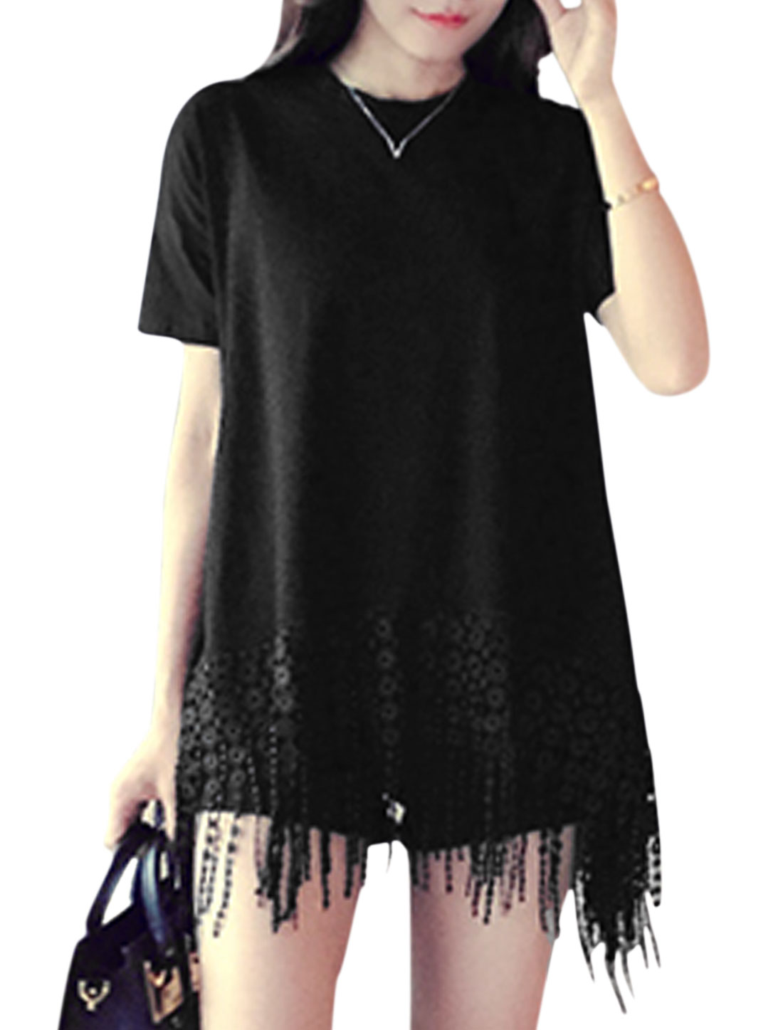 Ladies Short Sleeves Tassels Hem Panel Design Casual Tops Black XS