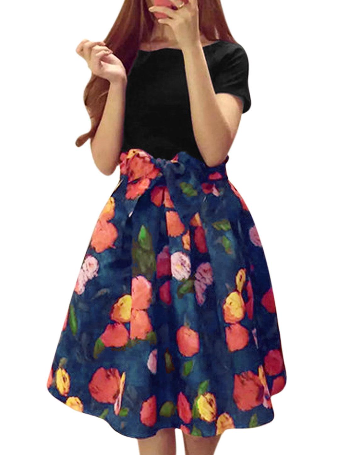Women Short Sleeves T-Shirts w Floral Prints Full Skirts Black Blue M