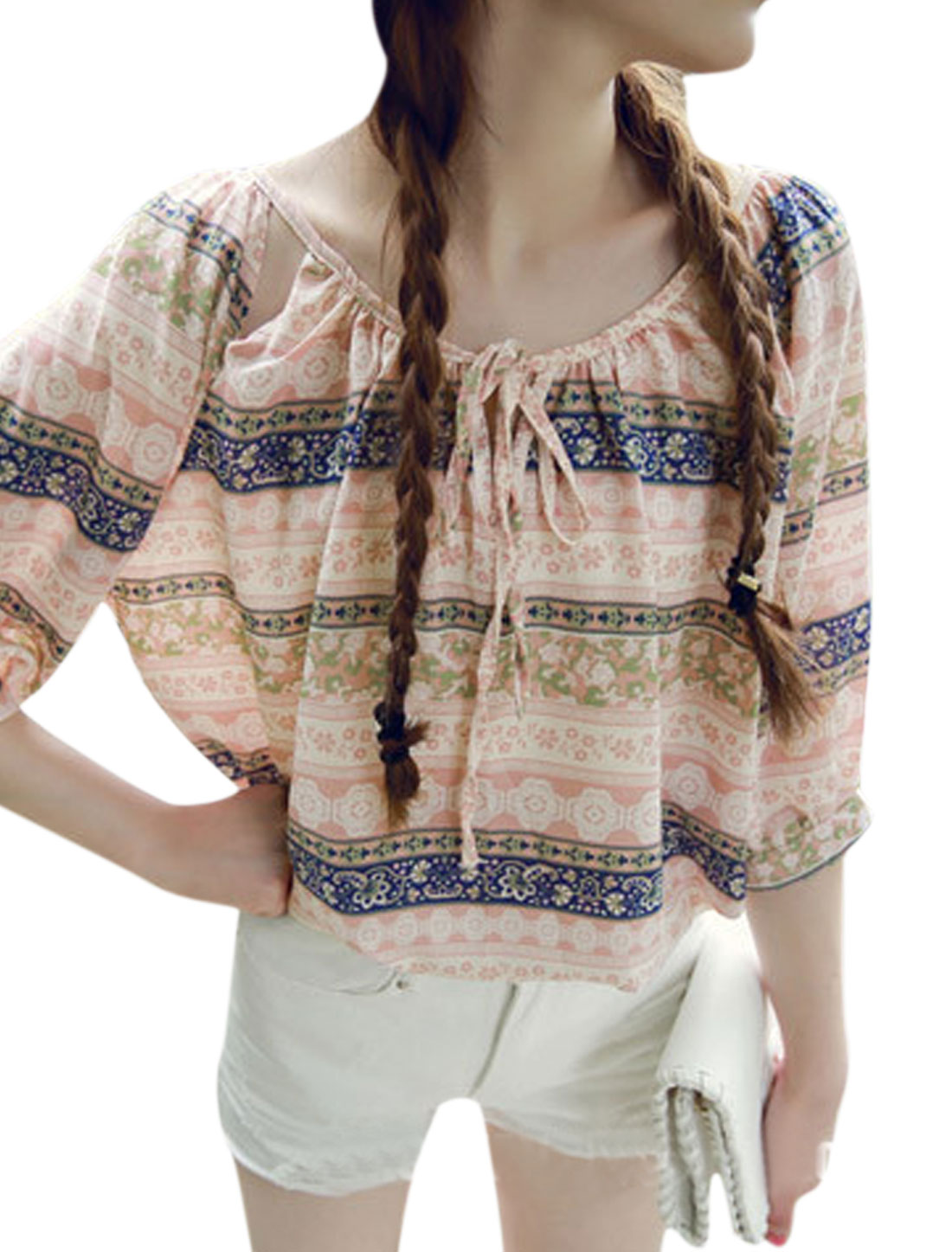 Women Scoop Neck 3/4 Sleeves Novelty Prints Casual Tops Pale Pink S