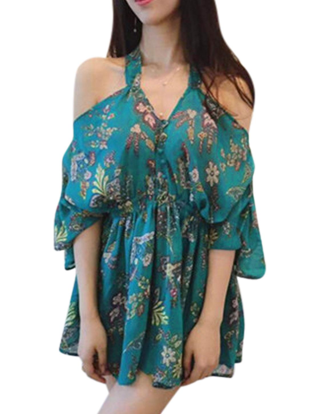 Women V Neck Floral Prints Cold Shoulder Buttons Decor A Line Dress Turquoise XS