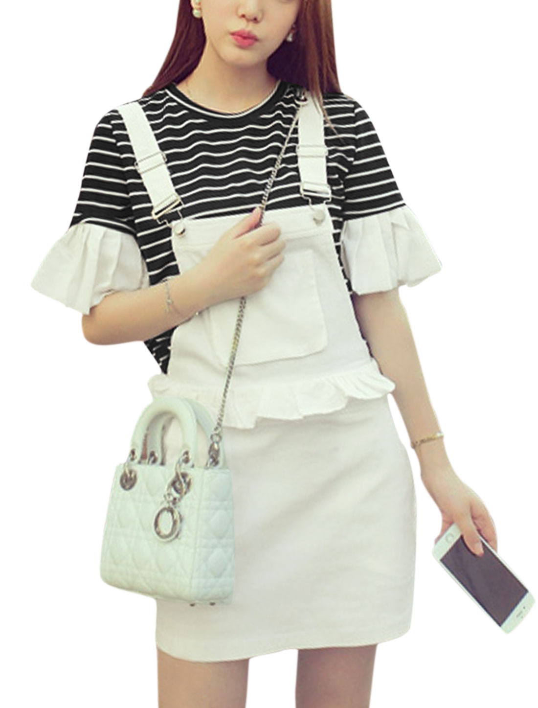 Women Stripes Bell Sleeves Top w Flounce Suspender Skirt Set White Black XS