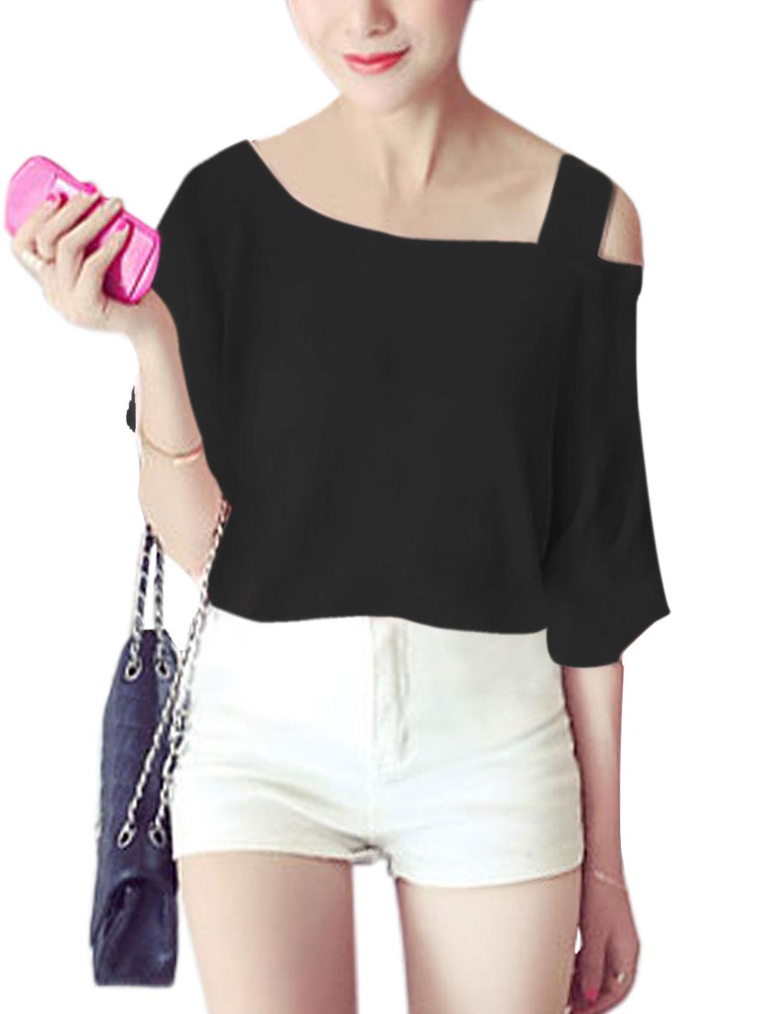 Women Asymmetric Neck Short Sleeves Top Black XS