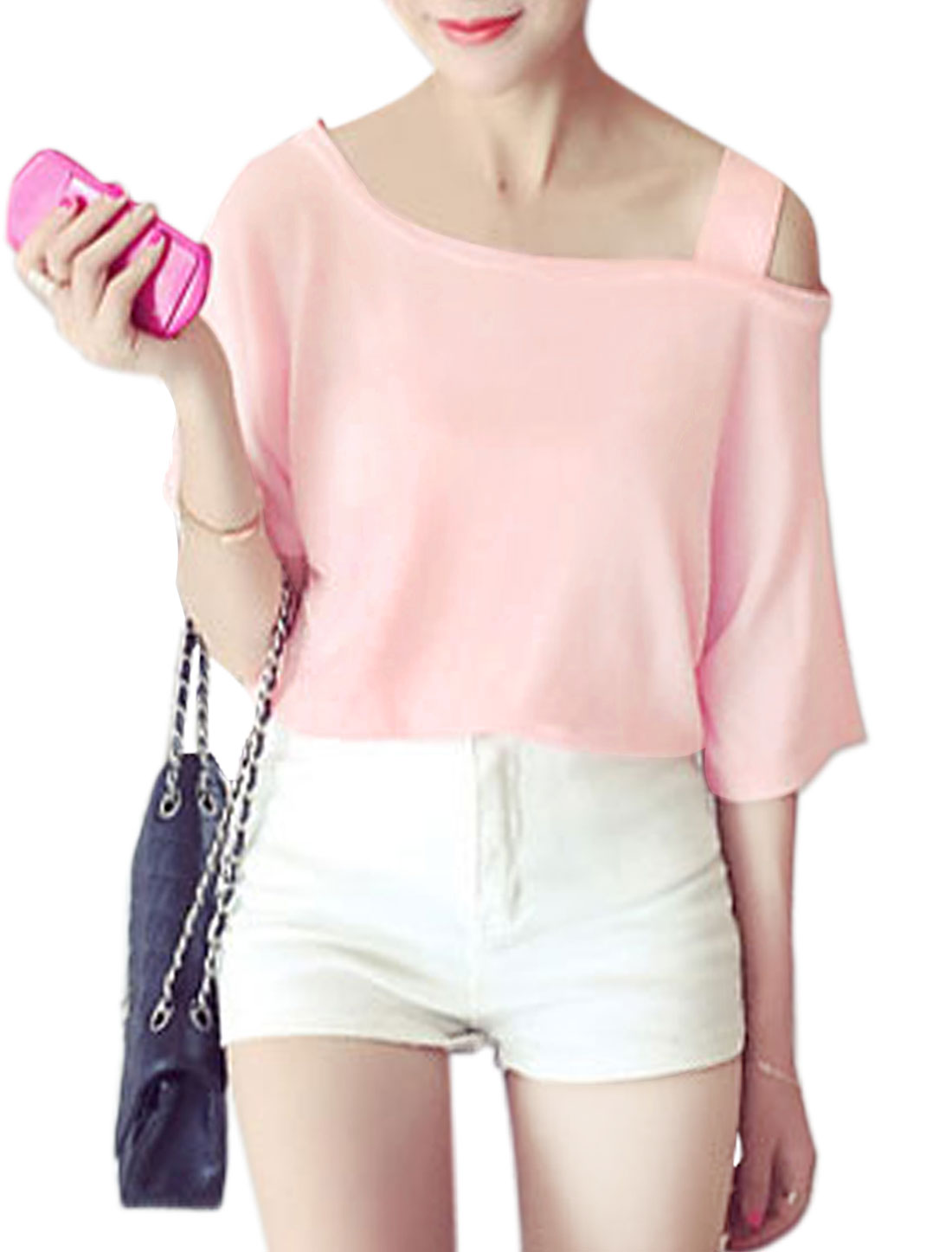Woman Asymmetric Neck Short Sleeves Casual Top Pink XS