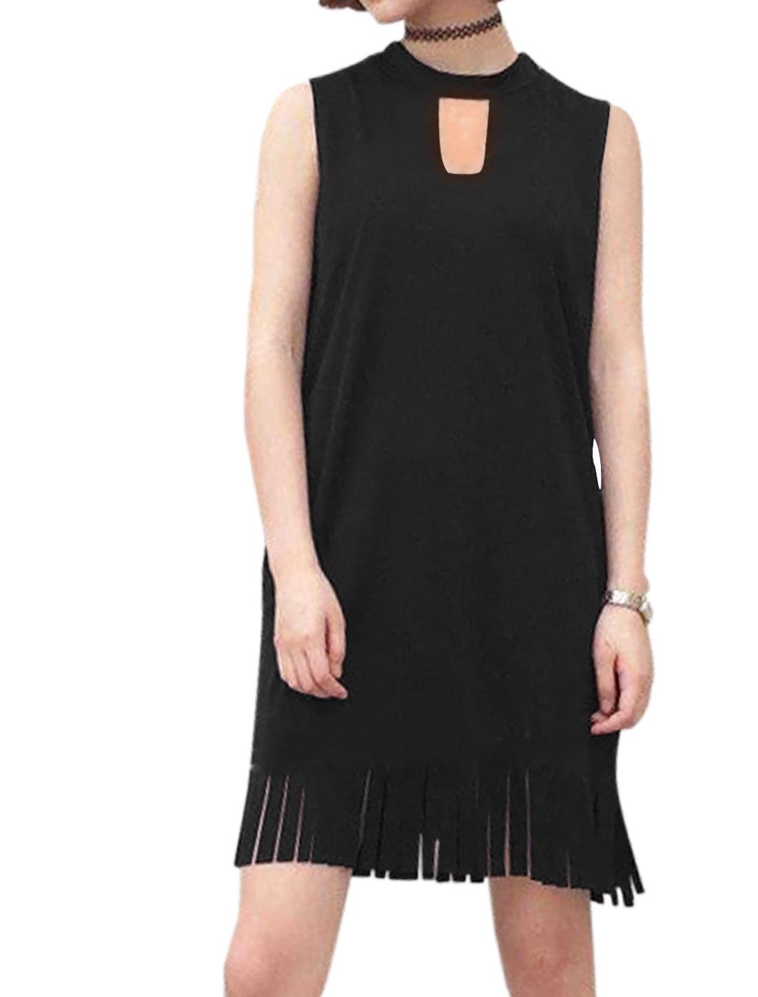 Women Sleeveless Keyhole Front Fringing Hem Tunic Dress Black XS