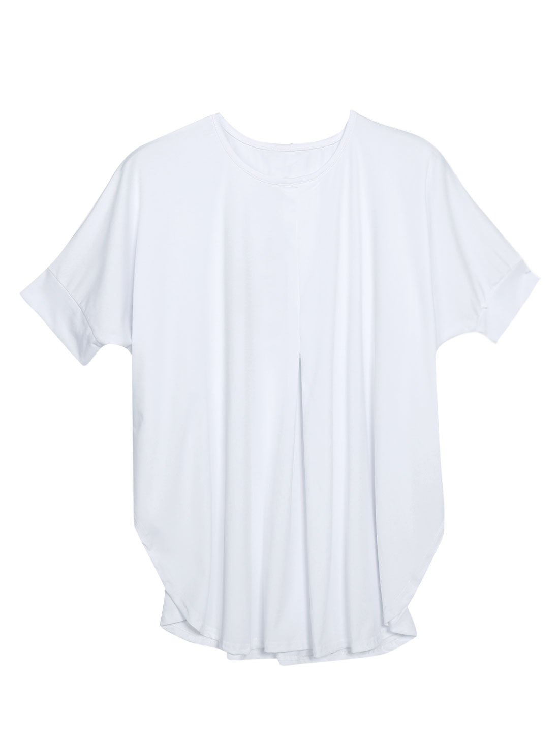 Women Elbow Batwing Sleeves Loose Fit Round Hem Casual Tops White XS