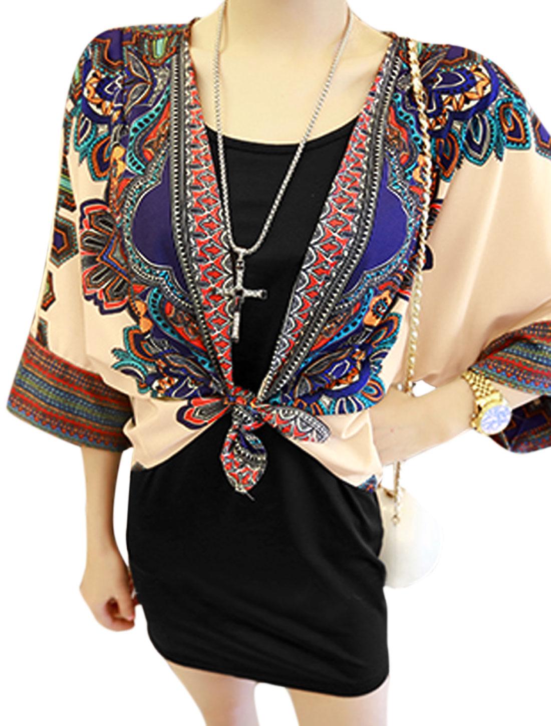 Woman Scoop Neck Tank Top w Geometrical Prints Kimono Black Beige XS