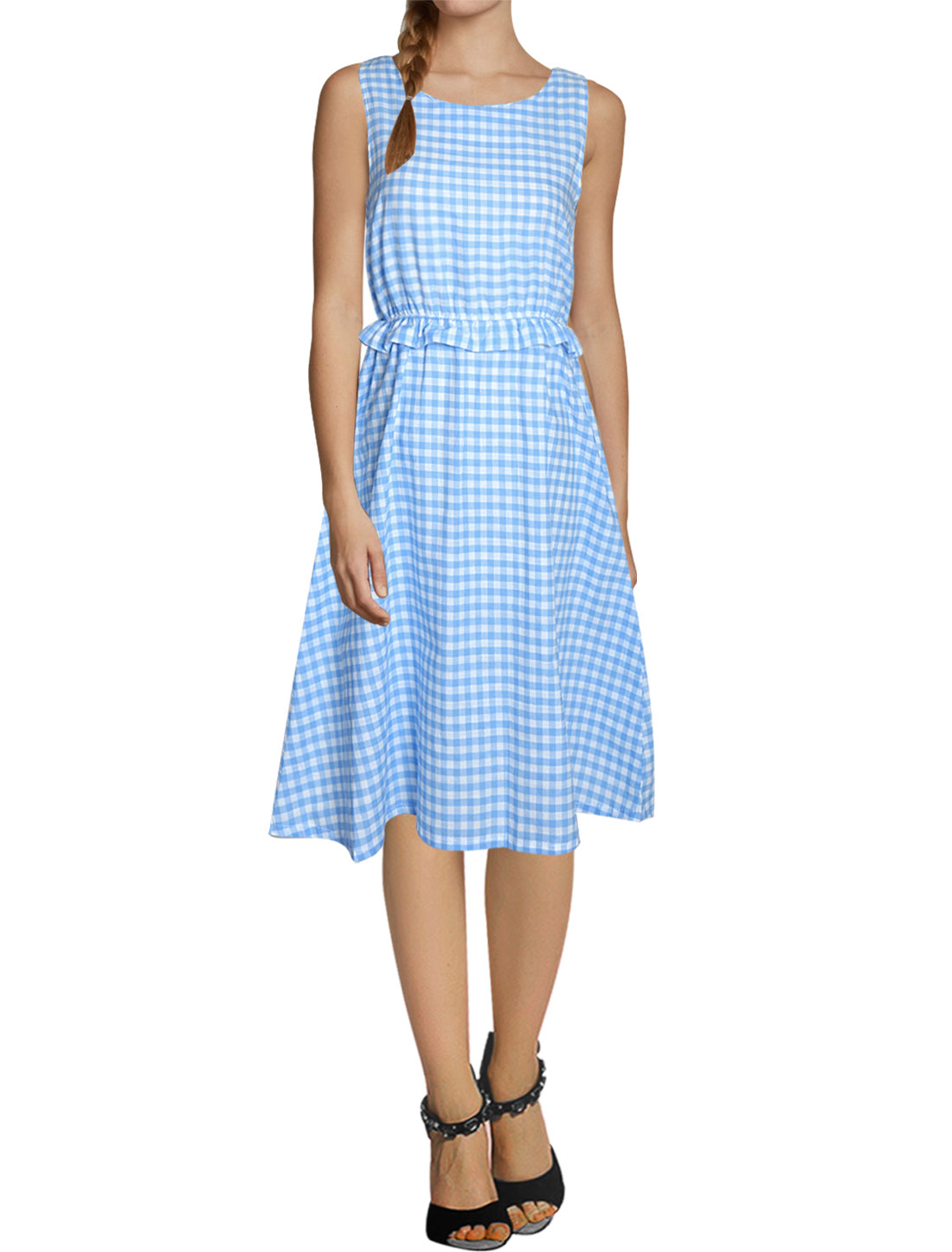 Woman Plaids Ruffled Elastic Waist Sleeveless Unlined Dress Light Blue White XS