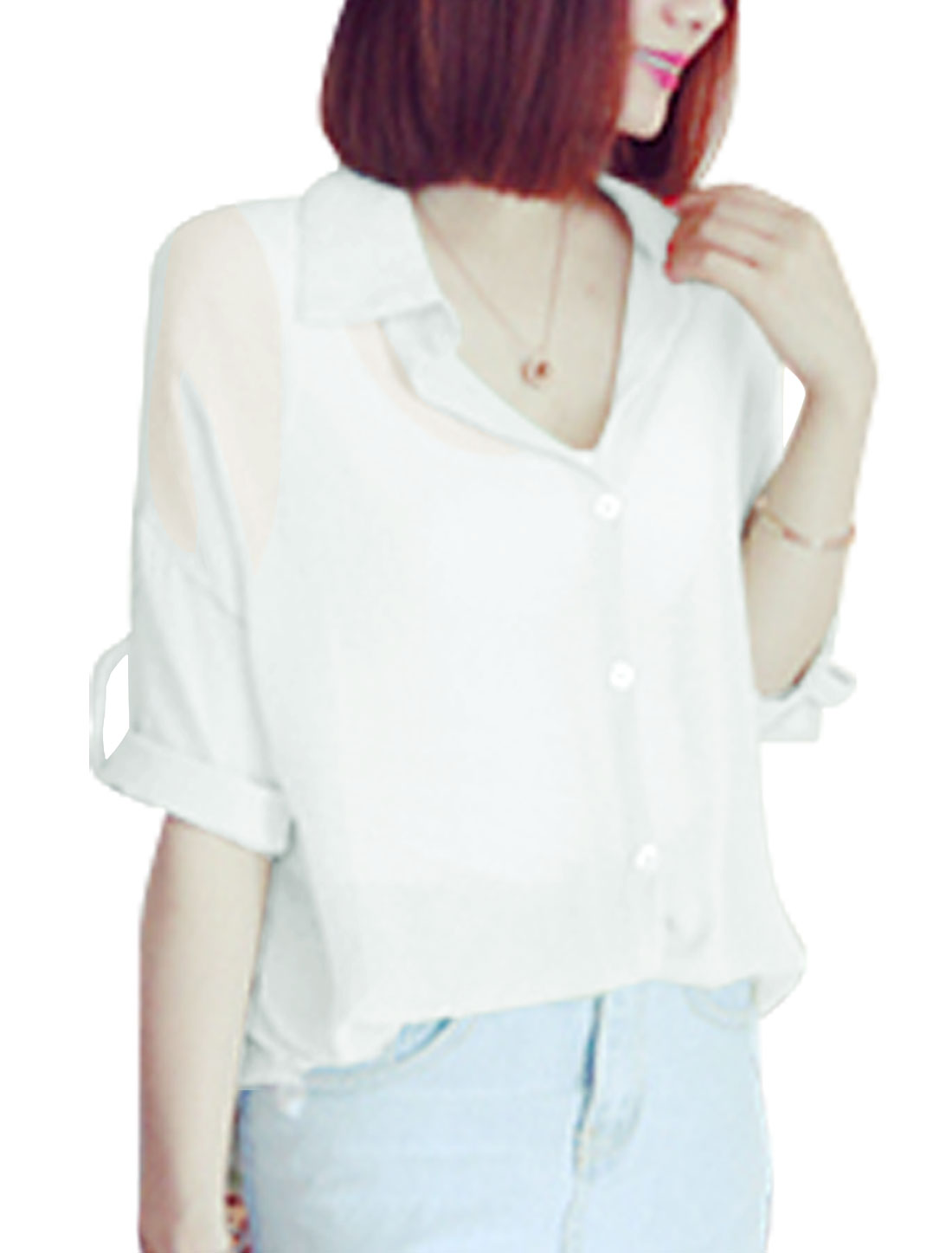Woman Half Roll Up Sleeves Round Hem Button Down Casual Shirt White XS