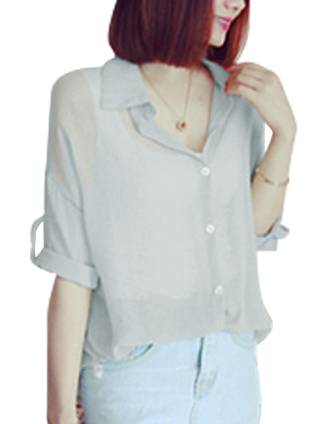 Woman Roll Up Sleeves Round Hem Button Down Leisure Shirt Light Gray XS