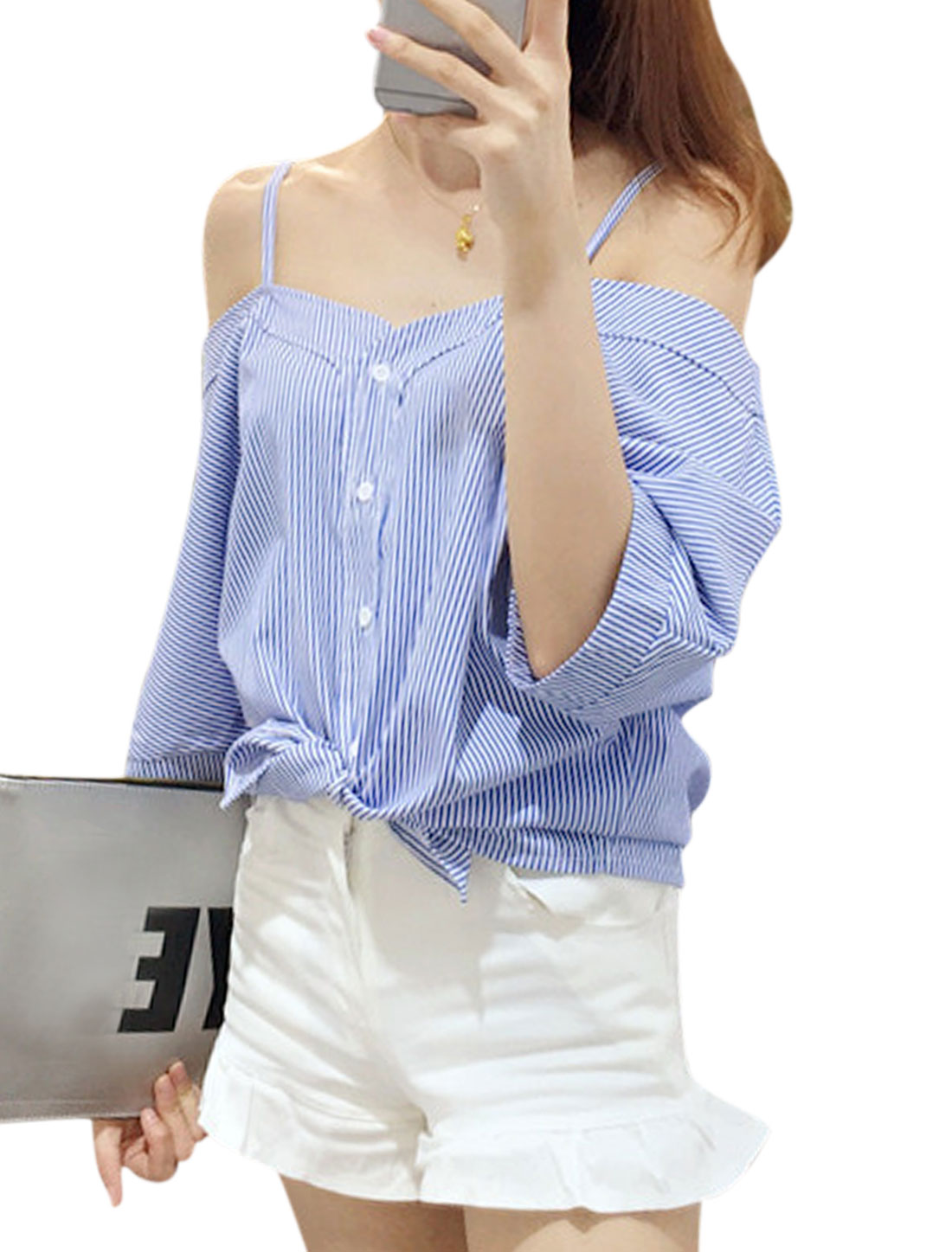 Woman Vertical Stripes Open Shoulder Button Down Spaghetti Straps Top Blue White XS