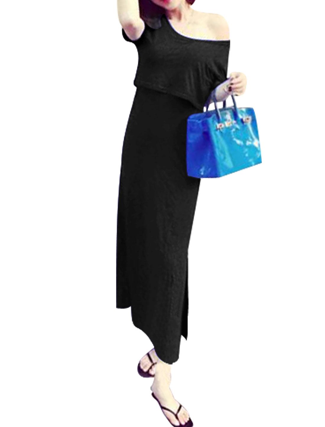 Woman Layered Crop Top Cut Out Back Split Hem Unlined Dress Black XS