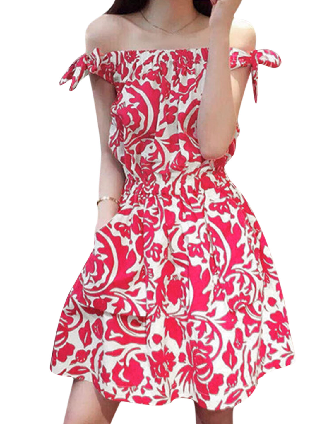 Woman Floral Prints Off-the-Shoulder Unlined Fit and Flare Dress White Fuchsia XS