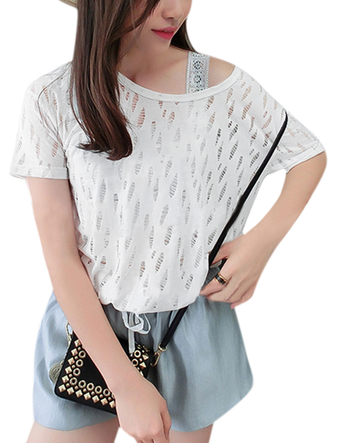 Woman Distressed Hollow Out Short Sleeves Casual Tee White XS