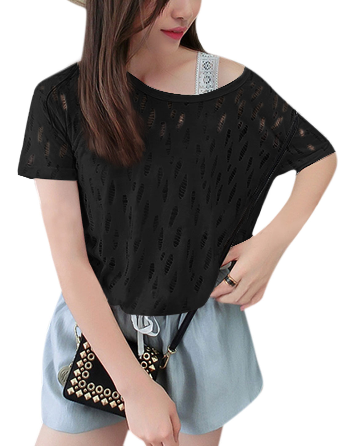 Woman Distressed Hollow Out Round Neck Slipover Casual Tee Black XS