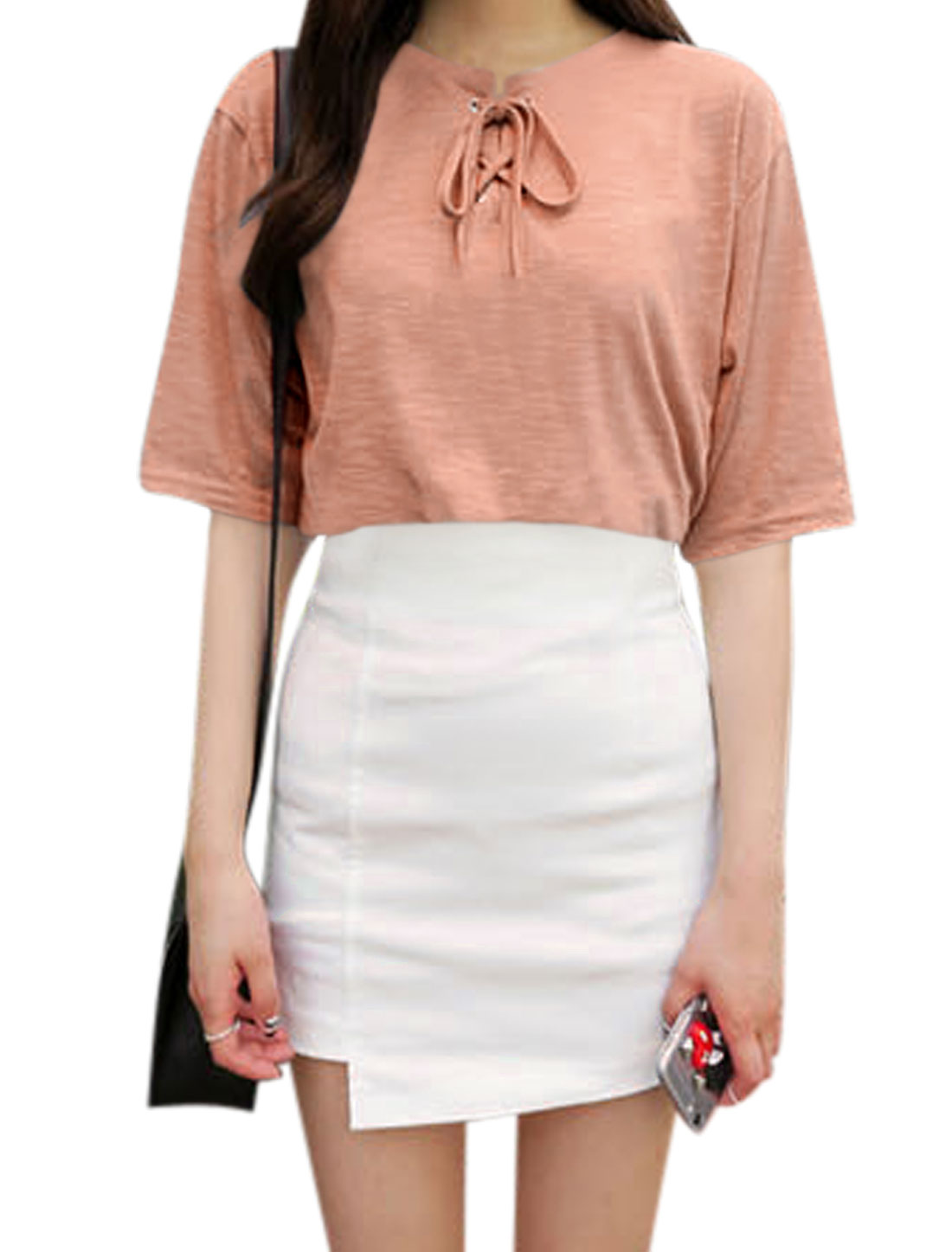 Ladies Split Neckline Short Sleeves Lace-Up Front Casual Tops Pink XS