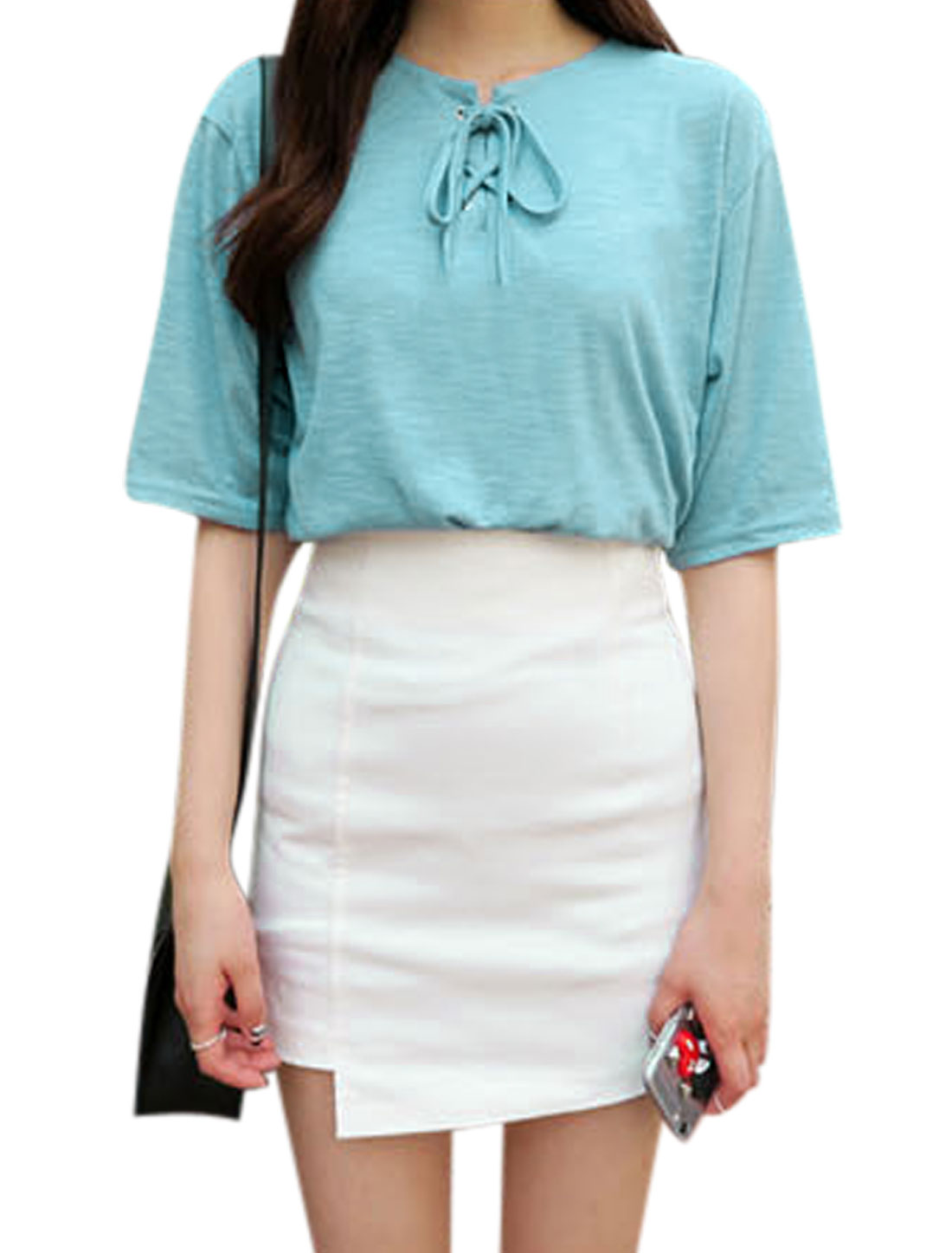 Ladies Split Neck Short Sleeves Lace-Up Front Casual Shirts Sky Blue XS