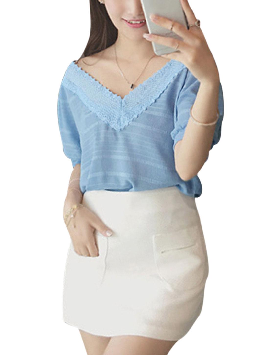 Ladies Short Sleeve Deep V Neck Crochet Panel Casual Blouse Sky Blue XS