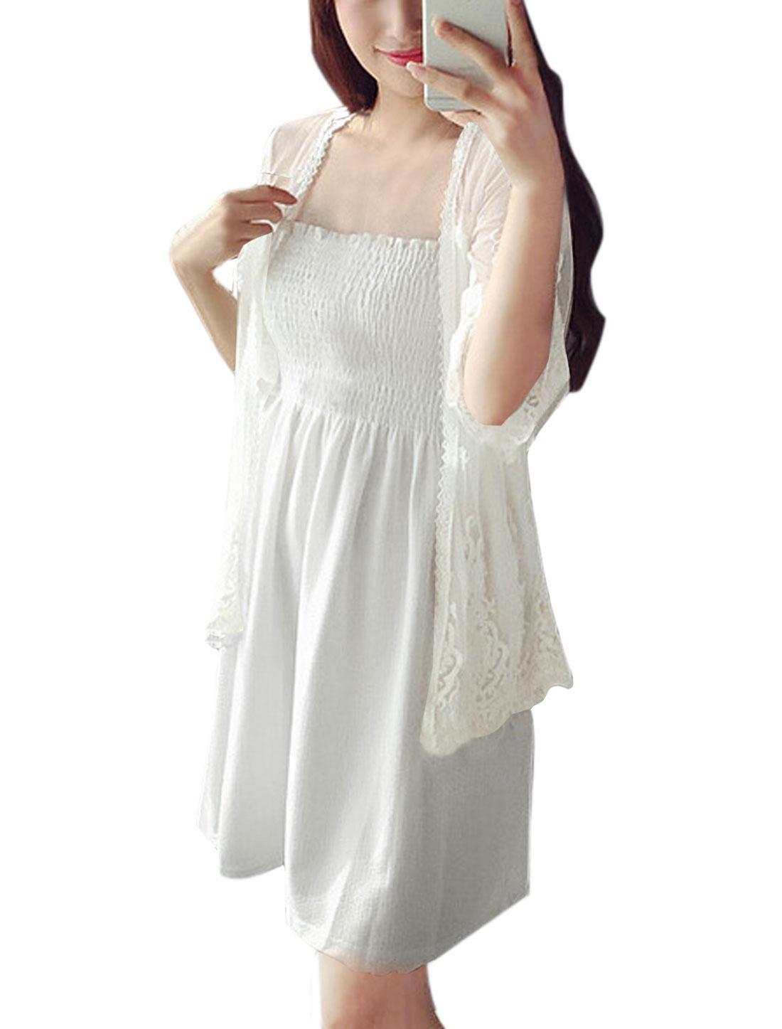 Women Flower Embrodiery 3/4 Sleeves Semi Sheer Mesh Cardigan White XS