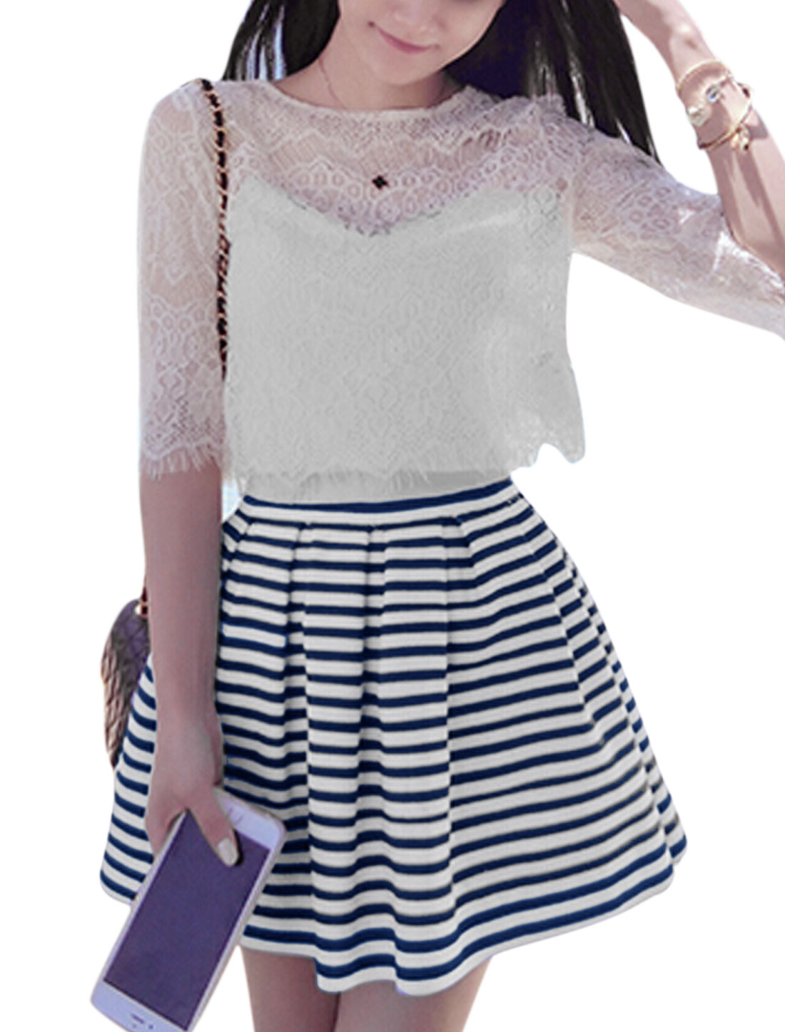 Woman Crop Cami Fringed Eyelash Lace Top w Stripes Skirt Sets White Dark Blue M